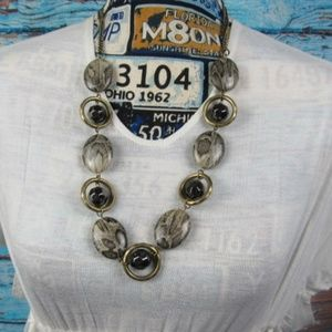 Bronze and Black Animal Print Beaded Necklace